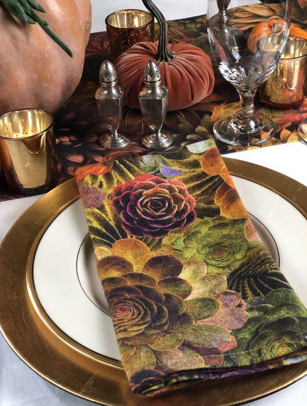 succulent napkin autumn