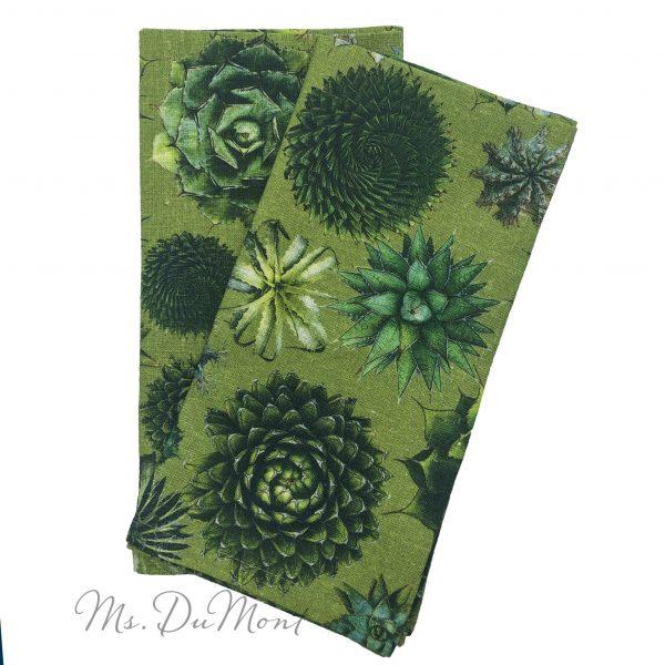 succulent linen napkin