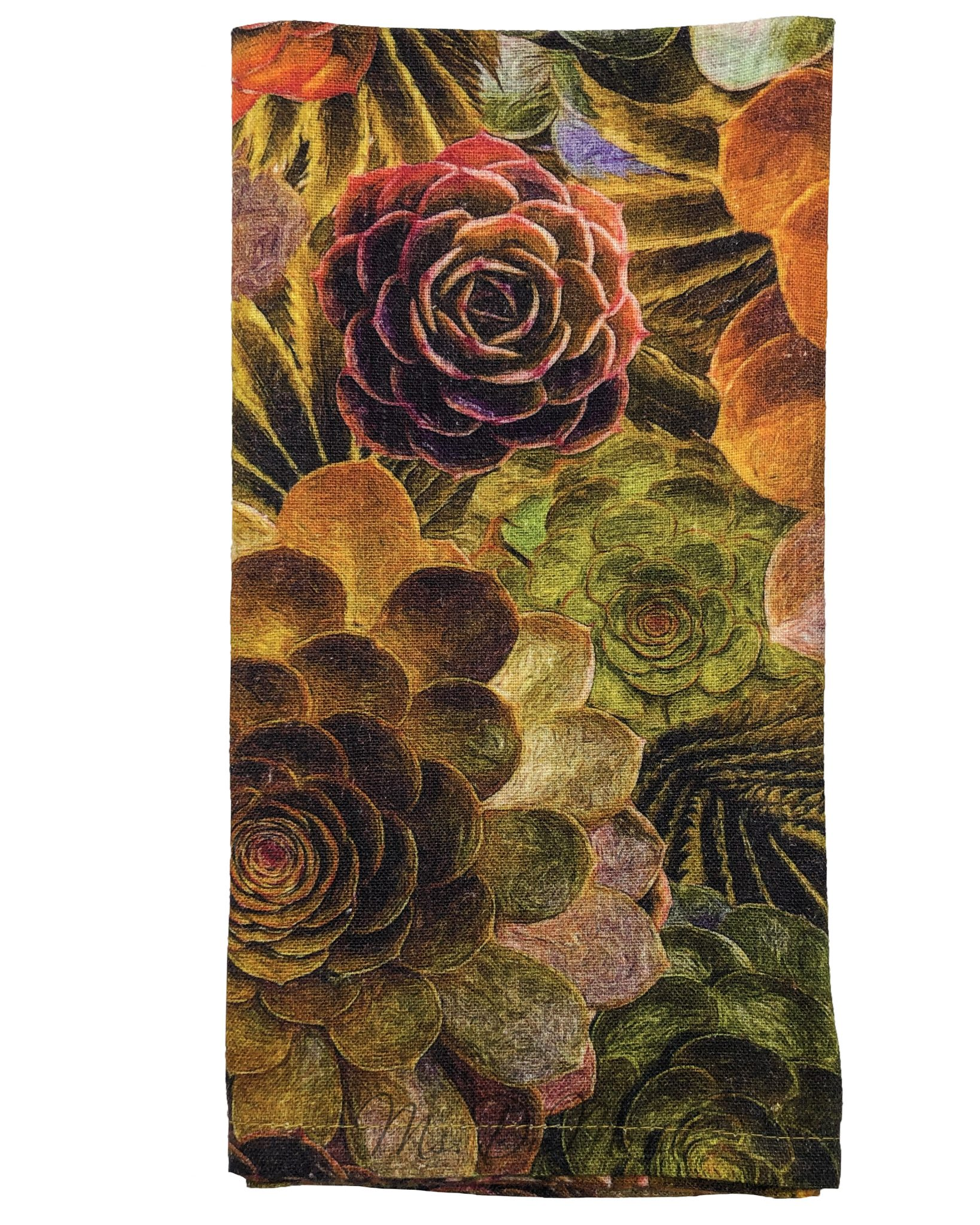 Succulent Floral Linen Napkin