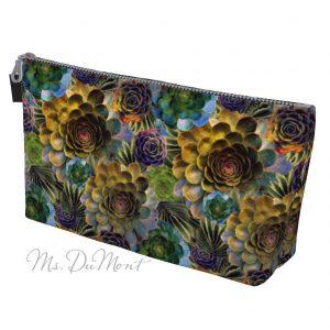 succulent floral make up bag