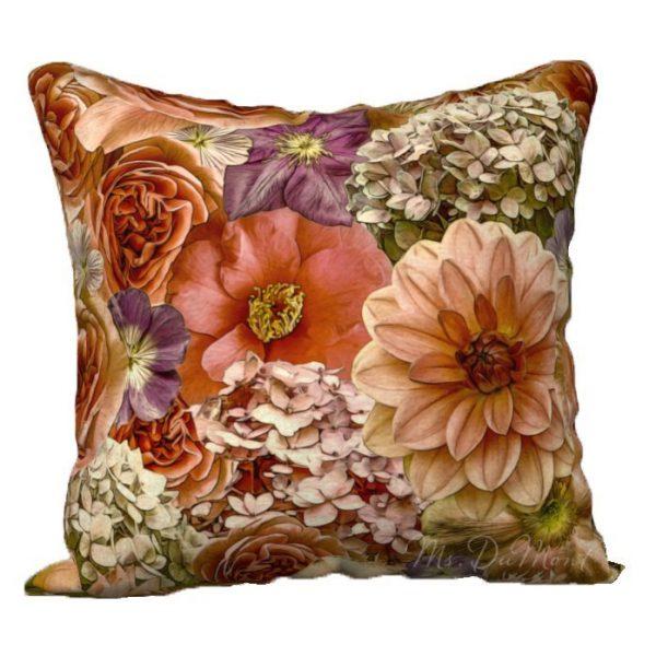 English garden dahlia rose hydrangea pillow cover