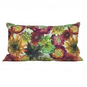 Linen lumbar succulent cactus pillow