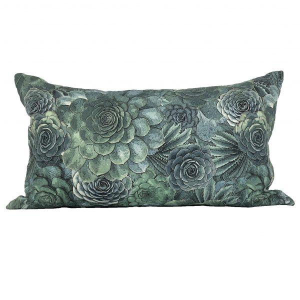 100% Linen succulent cactus lumbar pillow
