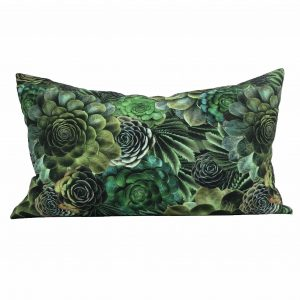Linen succulent cactus lumbar pillow