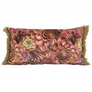 Velvet succulent cactus lumbar pillow