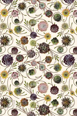 succulent cactus linen cotton towel